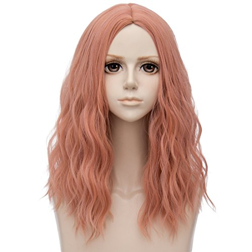 TOP-MAX Milkshake Pink Medium 20 Inches Curly Heat Resistant Cosplay Wig Fashion Lolita Women's Party -