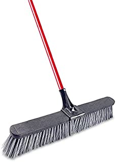 """product image for Libman Commercial 879 Rough Surface Push Broom, 64"""" Length, 24"""" Width, Black/Red/Grey (Pack of 4)"""