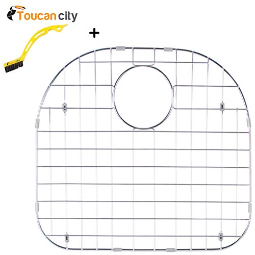 Toucan City Tile and Grout Brush and Glacier Bay Stainless Steel Sink Grid - Fits Single Bowl Sink 23-1/4x21 GRID-2321 by Toucan City