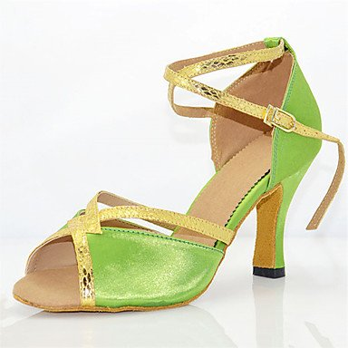 RUGAI-UE Nicht Nicht Nicht anpassbar - die Frauen tanzen Schuhe Leder Leder Latin Moderne Turnschuhe Ferse Praxis 4  (10cm) Slim High Heel Grün US 9.5-10 EU 41  UK 7 5-8 CN 42 b76d63