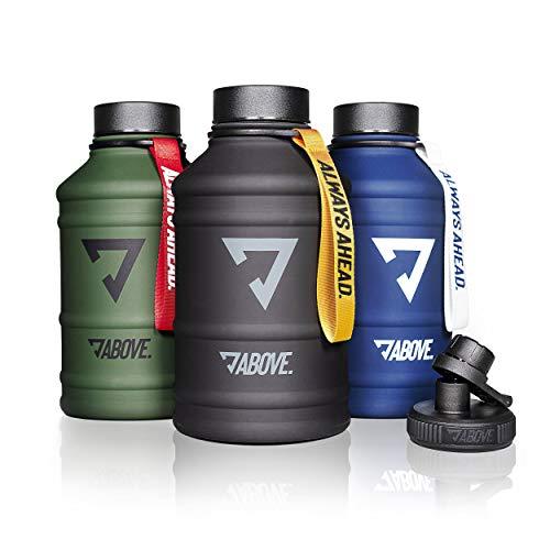 ABOVE. Trinkflasche 2L Edelstahl I 2 Trinkverschlüsse I BPA Frei I Kohlensäure Geeignet I Water Jug 2 Liter Fitness, Sport, Gym