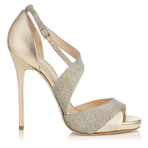 TDA Party High Women's MA52538 Sandals Heel Silver Stiletto Pleated Platform rSrCq0Tw