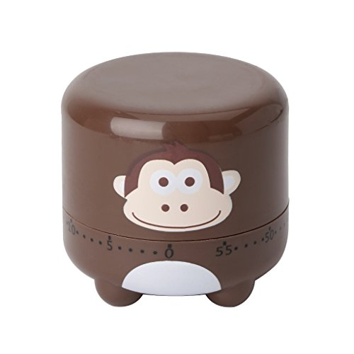 BCHZ Cartoon Animal Kitchen Timer Mechanical 60 Minute Countdown Cooking Baking Tools (Brown)