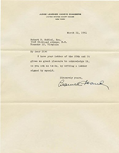 - Learned Hand - Typed Letter Signed 03/22/1951