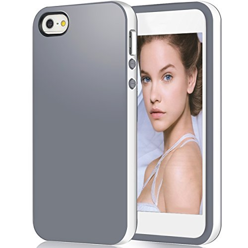 iPhone 5s Case,iPhone SE Case,iPhone 5 Case,by Ailun,Shock-Absorption Bumper,Anti-Scratch,Fingerprint&Oil Stain Shell Soft Dual Color TPU Back Cover[WhiteGrey]