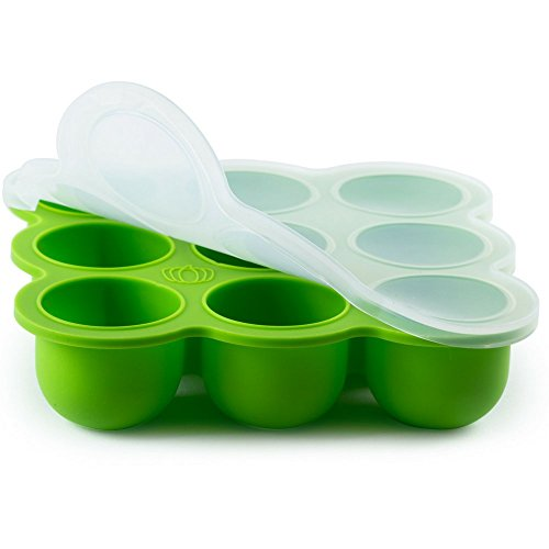 Eco Friendly Silicone Baby Food Freezer Storage Tray | 9 Large Cups (2.5 Oz) | Clip-On Silicone Lid | Toxin and BPA Free & FDA Approved | Oven & Dishwasher Safe | Free Baby Weaning E-books