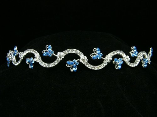 Butterfly Rhinestone Crystal Bridal Wedding Prom Headband Tiara (Blue Crystals Silver Plated) (Butterfly Headband Crystal)