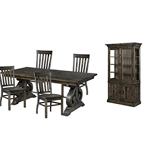 6 Piece Dining Set with China Cabinet, Dining Table, and (Set of 4) Dining Chairs in Pine (Dining Room Square China Cabinet)