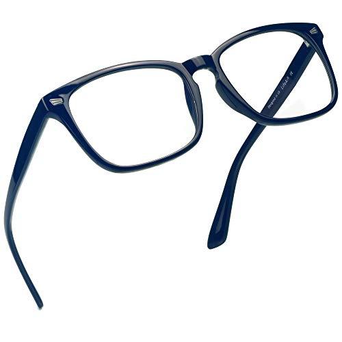 LifeArt Blue Light Blocking Computer Glasses,Stylish Reading Glasses for Women/Men,Transparent Lens Filter UV Light 400,Reduce Eyestrain with +2.00 ()