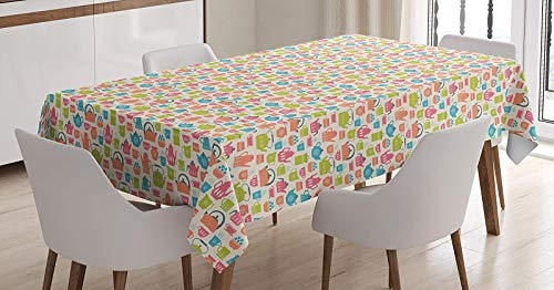 BMALL Cotton Linen Tablecloth Tea Time Theme Illustration of