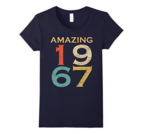 Womens Classic Vintage Amazing 1967 50 Years Old Birthday T-Shirt Medium Navy