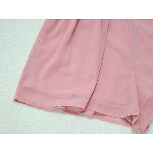 OverDose mujer vestido sin hombros gasa mini mono playsuit corto vestidos Rosa