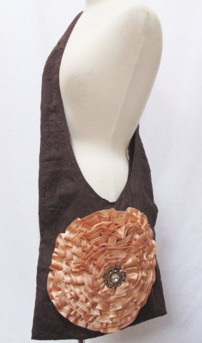 Crushed Ultra Suede Ruffle Flower Bullion Hobo Bag Purse ...
