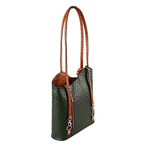 28x30x9 Chicca Cm Italy Made Tan Bag Pattern Genuine Leather Ostrich Shoulder Green Woman Borse in in Tqaxv7W4
