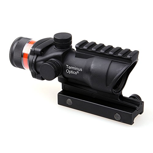 - Terminus Optics TOC1 2nd Generation 4x32 Magnification Red BDC Reticle Fiber Optic Scope Black Color (Red Fiber Optic)