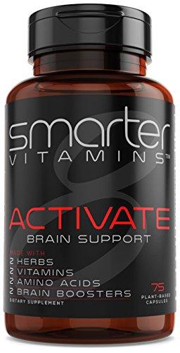 SmarterVitamins BRAIN SUPPORT Supplement Promotes Memory + Clarity, Brain Health + Function W/ L-Tyrosine, L-Carnitine, Bacopa 50%, Alpha-GPC, L-Dopa, Theanine, Vitamin B3 Niacin and Vitamin B6, Vegan (Niacin B6 Vitamins)