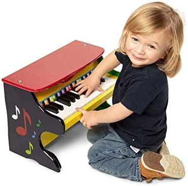 Melissa Doug Learn To Play Piano Musical Instruments Solid Wood Construction 25 Keys And 2 Full Octaves 11 5 H X 9 5 W X 16 L Great Gift For