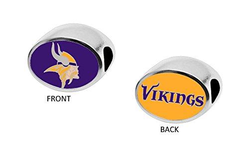 (Final Touch Gifts Minnesota Vikings 2-Sided Bead Fits Most Bracelet Lines Including Pandora, Chamilia, Troll, Biagi, Zable, Kera, Personality, Reflections, Silverado and)