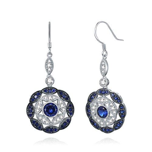 Merthus Antique Vintage Cluster Created Blue Sapphire Statement Hook Dangle Earrings 925 Sterling Silver