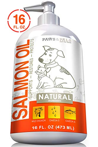 Paws & Pals Wild Alaskan Salmon Fish Oil Omega 3 & 6 for Dogs and Cats - Anti Itch Skin & Coat + Allergy Support - Hip & Joint + Natural Arthritis Dog Supplement - in Liquid or Chew Bite Treats