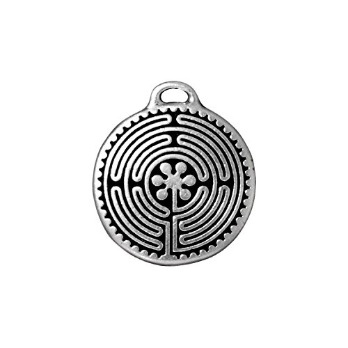 - TierraCast Labyrinth Disc, 26mm, Antique Fine Silver Plated Pewter, 2-Pack