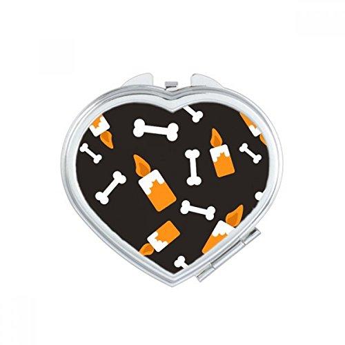 DIYthinker Candle Bone Halloween Hallowmas Heart Compact Makeup Pocket Mirror Portable Cute Small Hand Mirrors Gift -