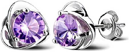Purple Austria Crystal Heart Shape Stud Earrings for Women