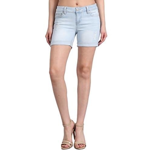 "Celebrity Pink Jeans Women's Mid Rise Stretch Distressed 5"" Cuffed Hem Denim Shorts hot sale"