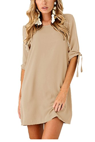 Boosouly Self-tie At Sleeves Crew Neck Solid Casual Tunic T Shirt Mini Dress Khaki - Uk For Solid Gold Sale