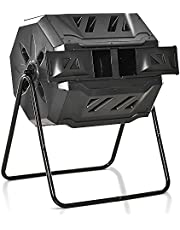 Outsunny Tumbling Compost Bin Outdoor Dual Chamber 360° Rotating Composter 43 Gallon w/Sliding Doors & Solid Steel Frame, Black