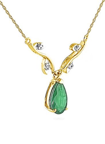 1.02 ct 14k Yellow Gold Drop Necklace with Genuine Diamonds & Pear-Shaped Natural Emerald 4273Y (14)