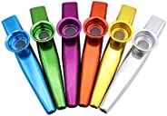 Muslady 6 Different Color Aluminum Alloy Metal Kazoos with 5pcs Flute Diaphragm Gift for Kids Music Lovers