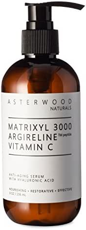 MATRIXYL 3000 + ARGIRELINE Peptide + Vitamin C 8 oz Serum + Organic Hyaluronic Acid, Reduce Sun Spots and Wrinkles, Our Most Powerful Triple Combination ASTERWOOD NATURALS Pump Bottle