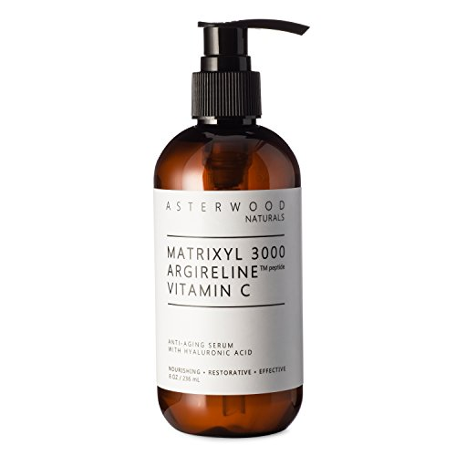 MATRIXYL 3000 + ARGIRELINE Peptide + Vitamin C 8 oz Serum + Organic Hyaluronic Acid - Reduce Sun Spots & Wrinkles - Our Most Powerful Triple Combination ASTERWOOD NATURALS Pump Bottle