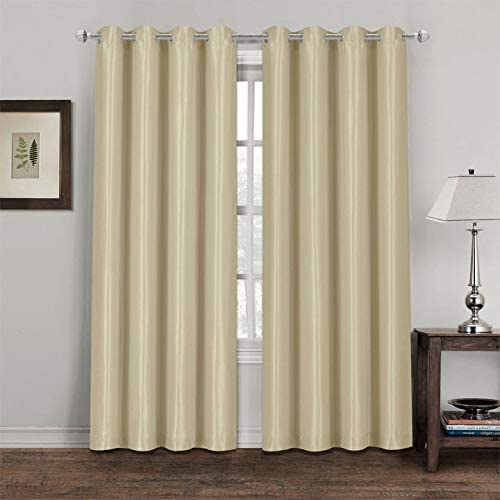 Chocolate Ring Top Thermal Blackout Curtains Light Reducing Curtains for Plain Room Darkening Living Rooms Nursery Bedrooms 66 x 90