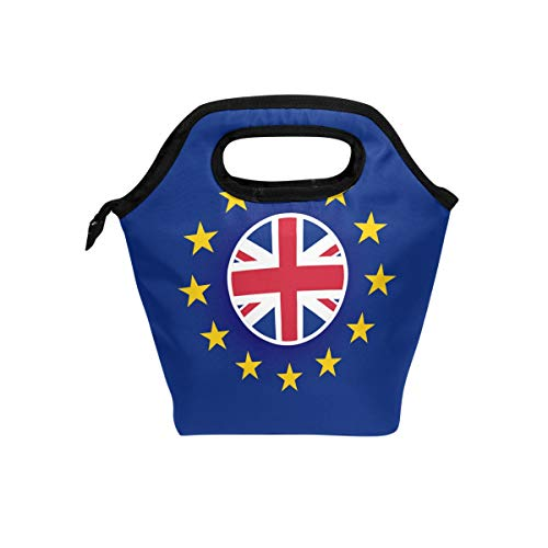 LALATOP Uk Flag Inside European Union Lunch Tote Bags Thick Insulated Thermal Cooler Lunch Boxes Waterproof Outdoor Travel Picnic Handbags with Zipper