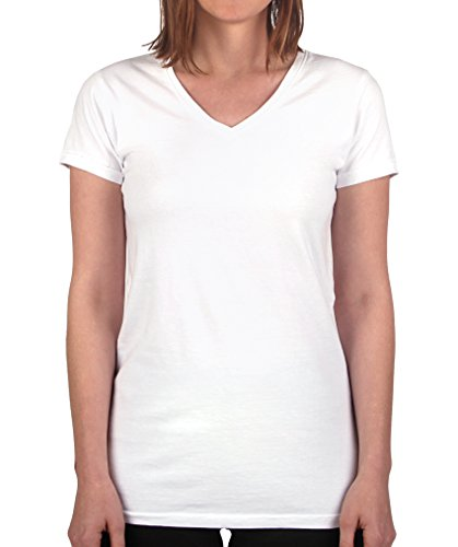 Have It Tall Women's V Neck T Shirt Premium Ringspun Cotton Made in USA White Large Tall - Premium Womens Tees