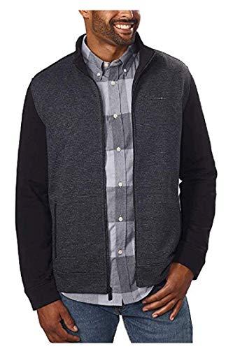 Calvin Klein Jeans Men's Full-Zip Fleece Mock Neck Sweatshirt Jacket (Black, M)