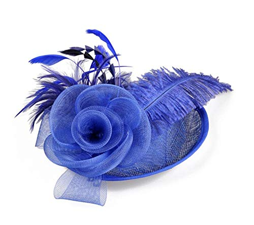 Lady Feather Flower Brooch Pin Bridal Party Hair Holder Headdress Bead,sapphire ()