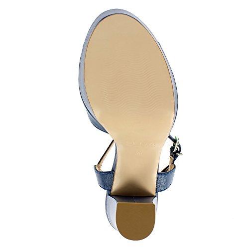 Scarpe Da Donna Evita Stefania Sandalette Pelle Liscia Blu Scuro