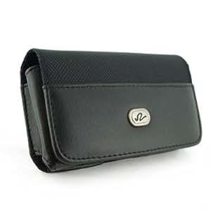 Black Horizontal Imitation Leather Elegant Premium Cover Belt Clip Side Case Pouch For BLU DEEJAY II Q150