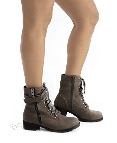 Soda Frauen Oracle Lace-up Combat Gefaltete Manschette Riding Mid-Calf Stiefel Graue Dist