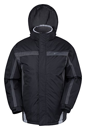 Boys Ski Jacket Coat (Mountain Warehouse Dusk Men's Ski Jacket - Water-Resistant with Insulated & Fleece Lined, Snow-Skirt, Lots of Pockets - Adjustable Features like Hood, Cuffs & Hood Black X-Small)