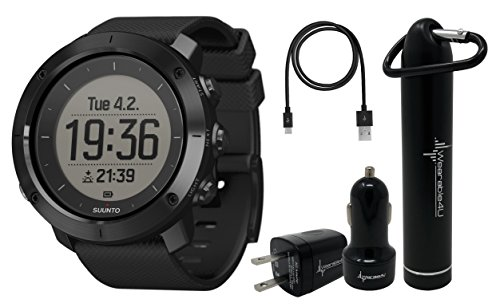 Suunto Traverse GPS Outdoor Hiking Watch with Versatile Navigation Functions and Wearable4U Ultimate Power Pack Bundle (Sapphire Black)