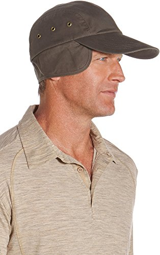 coolibar UPF 50+ Men's Wax Cotton Baseball Cap - Sun Protective (Medium- Brown) (Golfers Sun Protection)