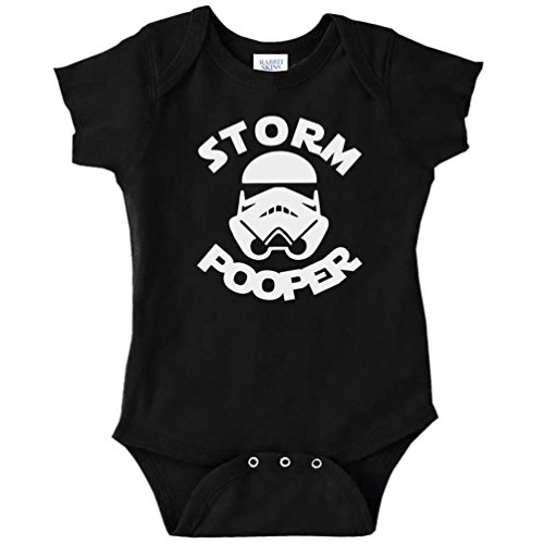 Star Wars Stormtrooper Suit (Funny Baby Bodysuit Infant Storm Pooper Storm Trooper Star Wars Parody (BLACK, 6 MONTHS))