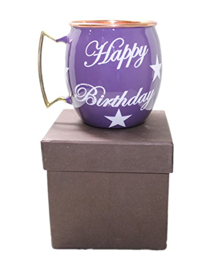 STREET CRAFT Happy Birthday Hand Painted Copper Mugs Special Deign For Gift On Birthday Moscow Mule Mugs Cups Mugs Smooth Finish Purple]()