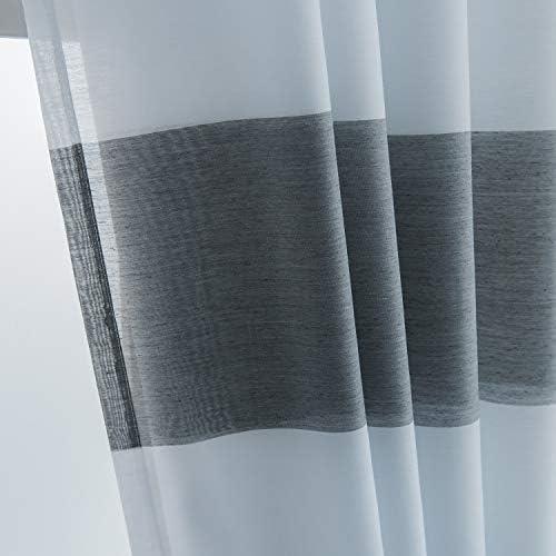 corta Heichkell motivo caff/è Besseit Poliestere trasparente HxB 30x120cm bianco Tenda a pannello in voile