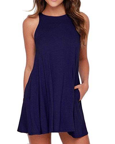 Unbranded* Women's Sleeveless Dress Pockets Casual Swing T-Shirt Dresses Navy Blue Small