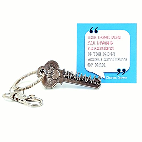 Key - paw Print Keychain & Inspirational Quote - The Cute Cool Fun Unique Small Gift idea Under 10 for Giving Veterinarian Vet Animal Rescue cat Dog pet Owners ()
